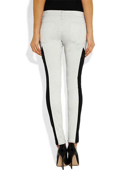 Racer Stripe Leather Jeans- 50 Colors