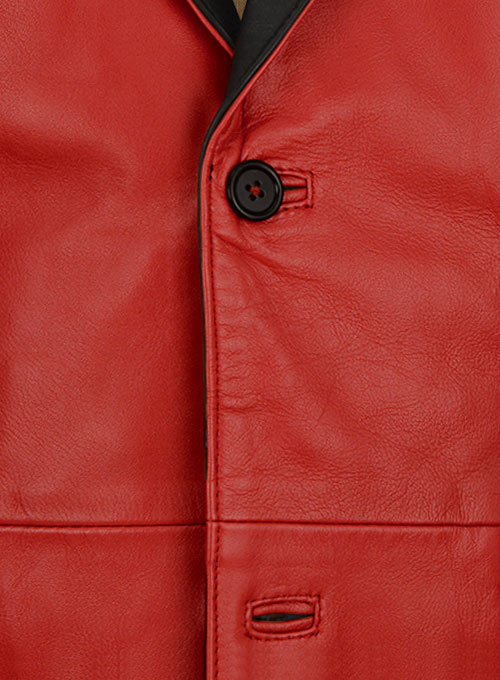Red Hampton Leather Blazer - Click Image to Close