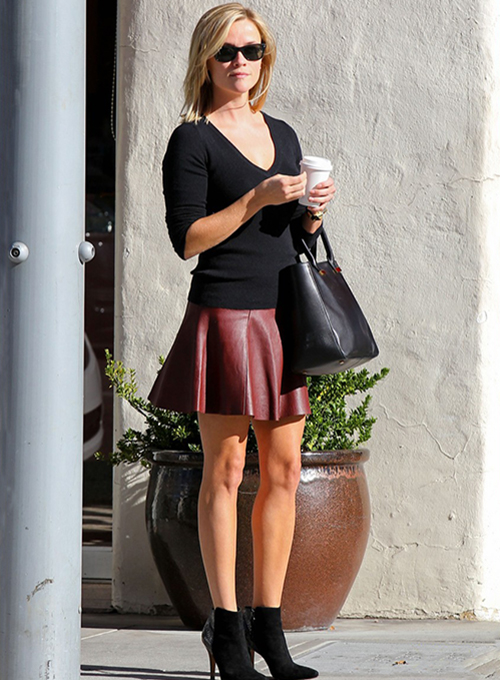 Reese Witherspoon Leather Skirt
