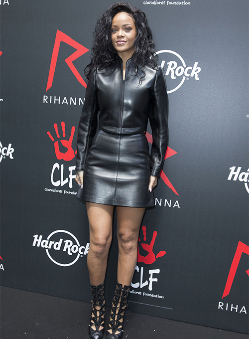 Rihanna Leather Skirt