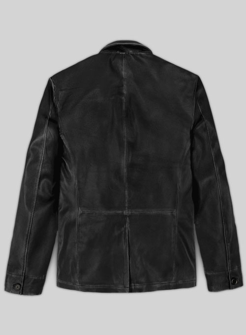 Rubbed Black Will Smith Leather Blazer - Click Image to Close