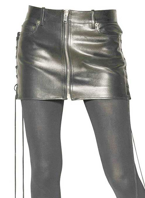 Side Lace-Up Leather Skirt - # 431 - 50 Colors