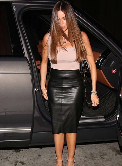 Sofia Vergara Leather Skirt
