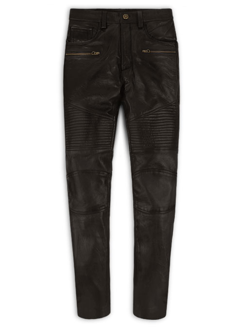 Soft Dark Brown Leather Biker Jeans #512