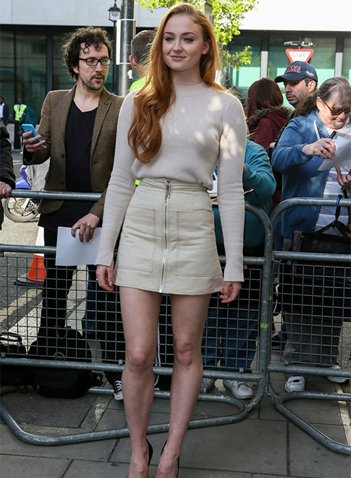 Sophie Turner Leather Skirt