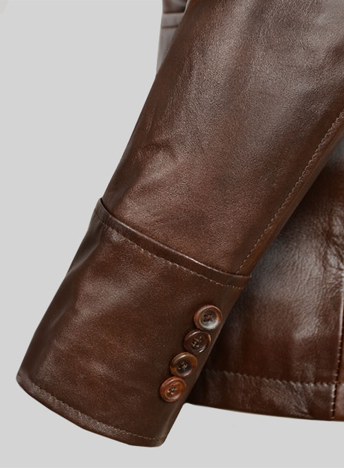 Spanish Brown Leather Blazer - #716 - Click Image to Close