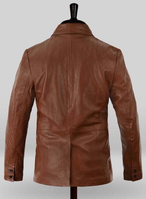 Tan Brown Leather Blazer - Click Image to Close