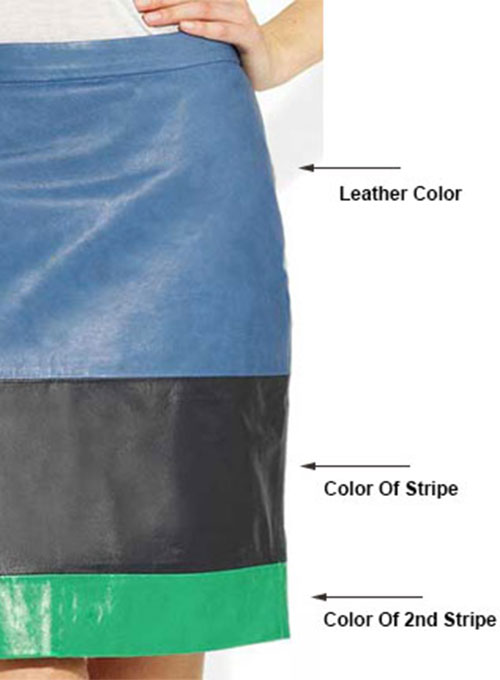 Tri Color Leather Skirt- 35 Colors