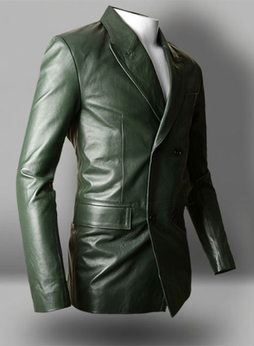 Vintage Green Leather Blazer - Click Image to Close