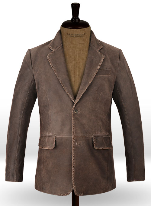 Vintage Brown Grain Medieval Leather Blazer