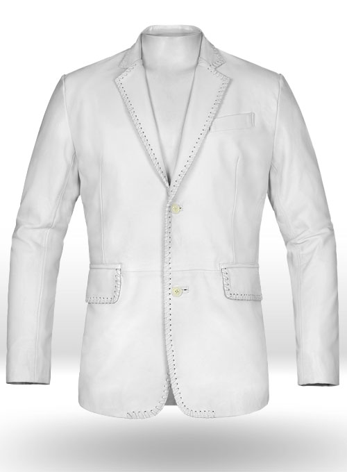 White Medieval Leather Blazer