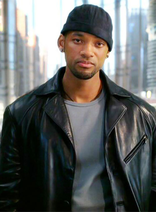 Will Smith I Robot Leather Long Coat - Click Image to Close