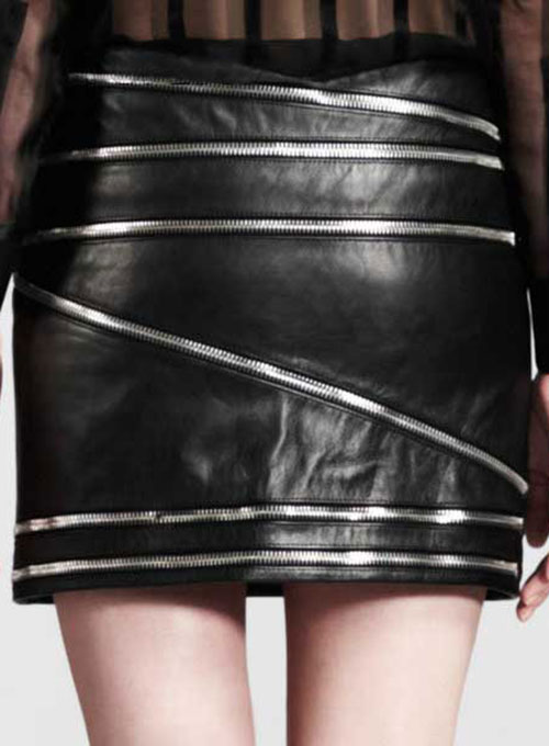 Zig Zag Zipper Leather Skirt - # 448 - 50 Colors