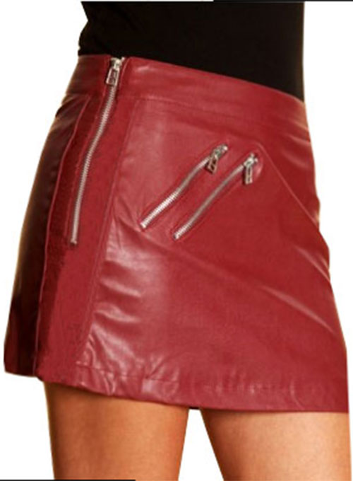 Zipper Leather Mini Skirt - 50 Colors