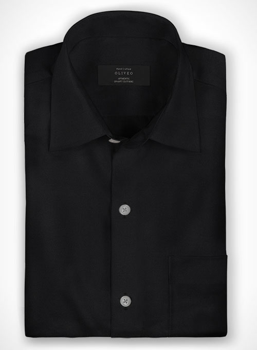 Black King Twill Cotton Shirt - Full Sleeves