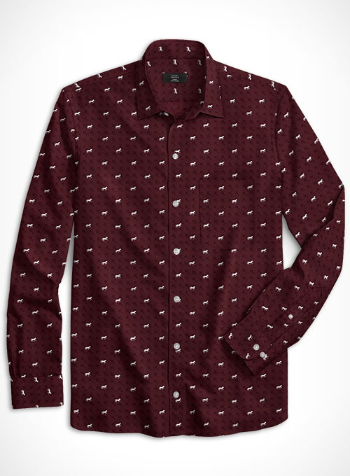 Cotton Horse Maroon Shirt - Full Sleeves - Click Image to Close