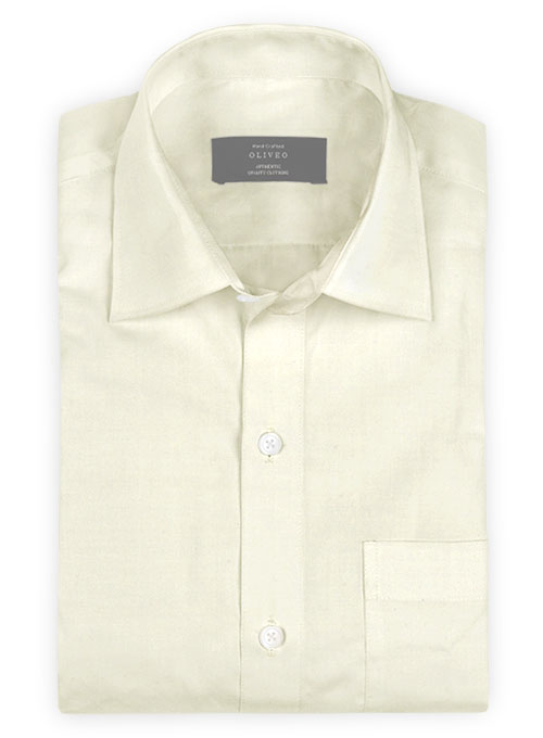 Cream Cotton Linen Shirt - Full Sleeves