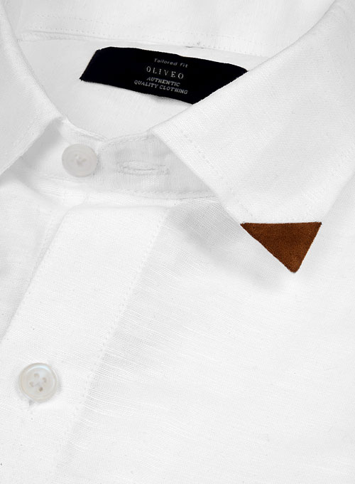 Leather Trim Linen Shirt - Click Image to Close
