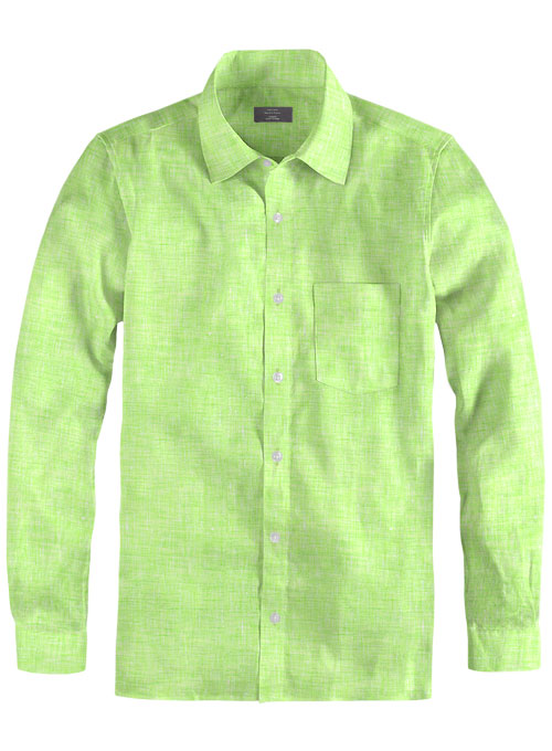 Roman Fume Green Linen Shirt - Full Sleeves - Click Image to Close