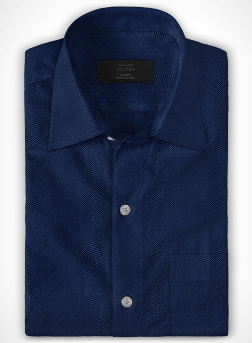 Royal Blue Herringbone Cotton Shirt