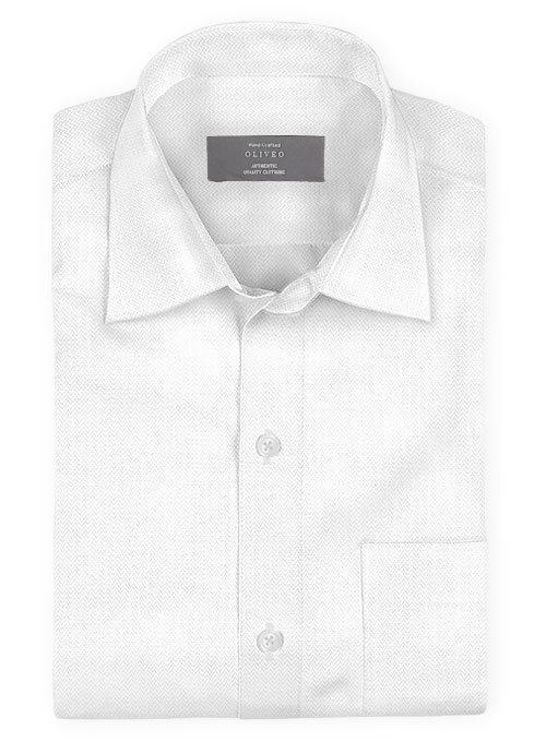 White Herringbone Cotton Shirt - Full Sleeves
