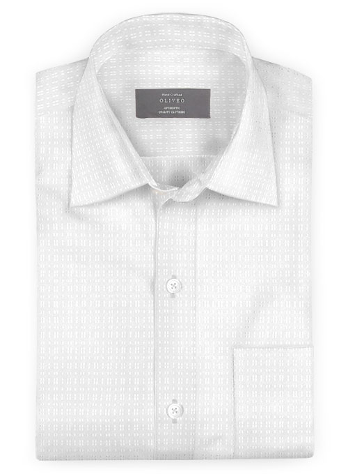 White Self Blocks Shirt - Full Sleeves