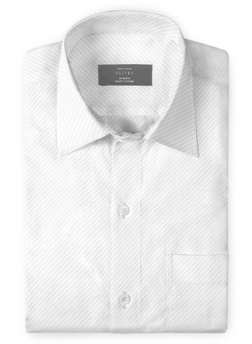 White Self Diamond Shirt - Full Sleeves