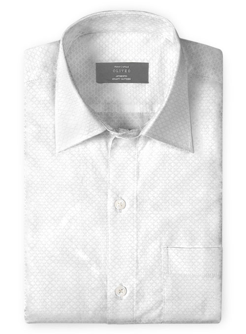 White Self Plus Shirt - Full Sleeves