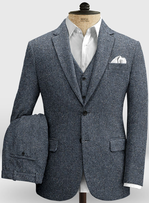 Arc Blue Herringbone Flecks Donegal Tweed Suit