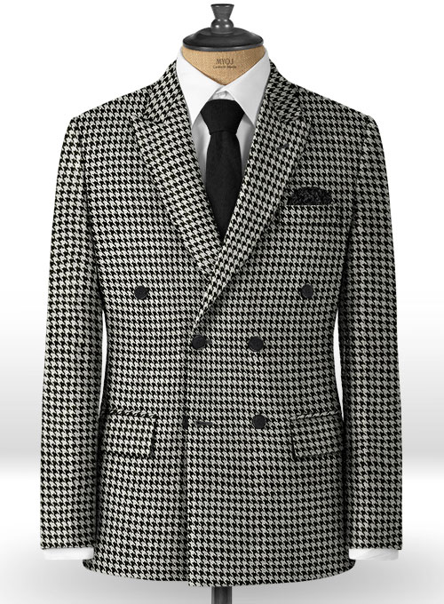Big Houndstooth BW Tweed Double Breasted Jacket