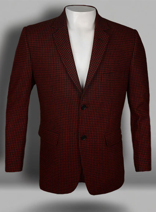 Big Houndstooth Red Tweed Jacket