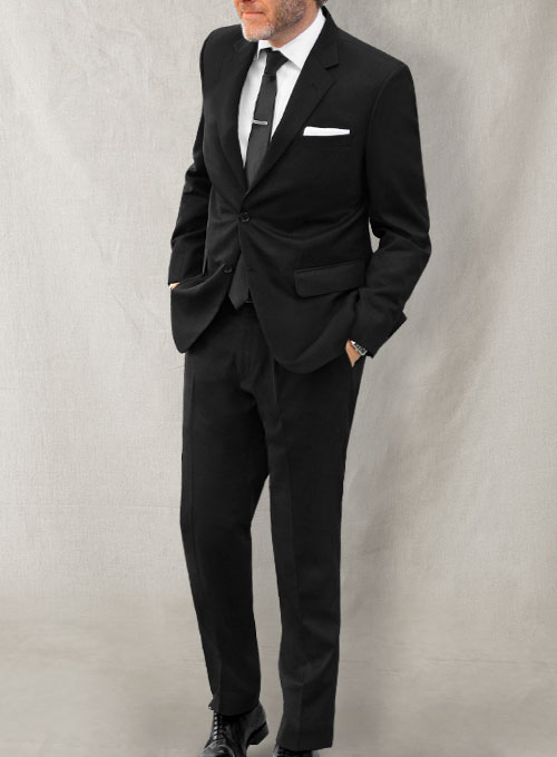 Black Merino Wool Suit - Click Image to Close