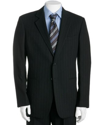Black Pinstripe Merino Wool Jacket