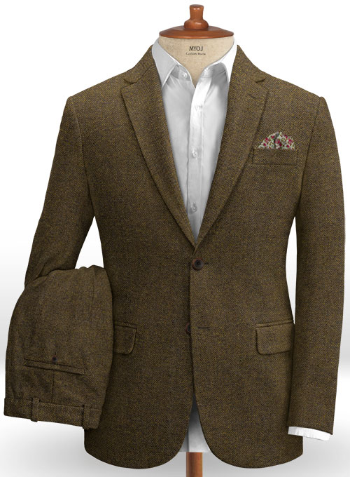 Bottle Brown Herringbone Tweed Suit