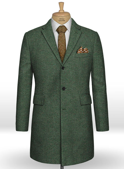 Bottle Green Herringbone Tweed Overcoat