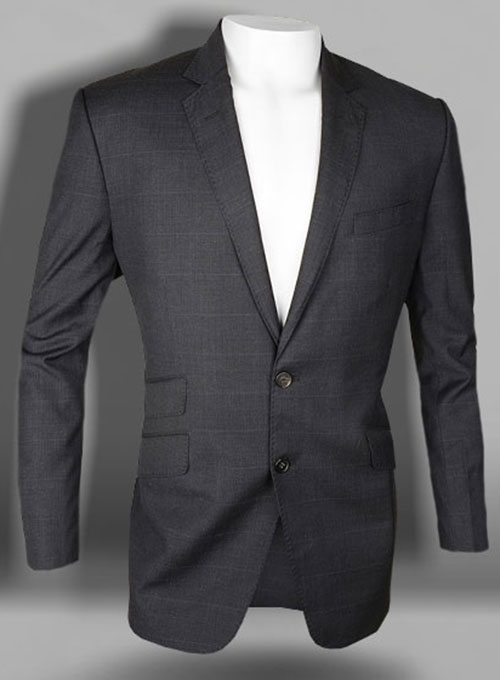 Caviar Checks Blu Gray Wool Jacket