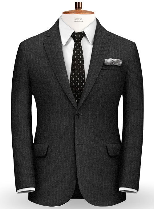 Chalkstripe Wool Charcoal Suit - Click Image to Close