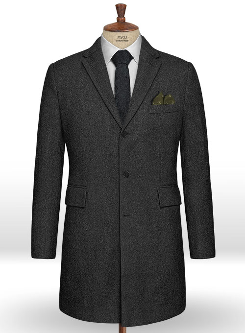 Charcoal Heavy Tweed Overcoat