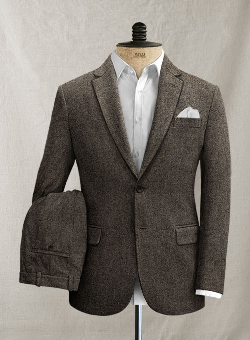 Dark Dapper Brown Tweed Suit