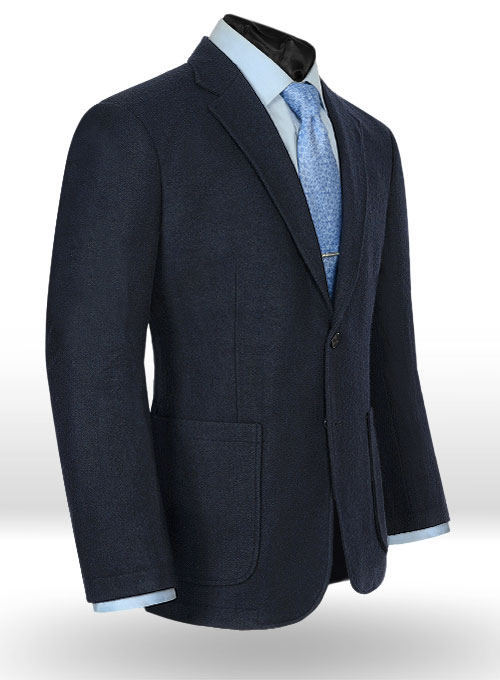 Deep Blue Herringbone Tweed Parker Style Sports Coat - Click Image to Close