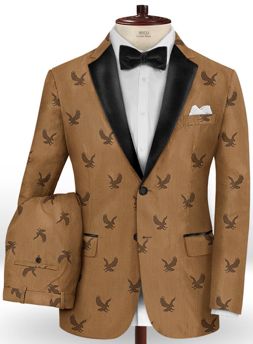 Eagle Brown Wool Tuxedo Suit