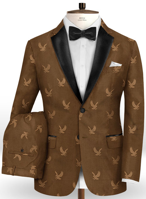 Eagle Dark Brown Wool Tuxedo Suit