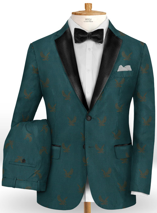 Eagle Teal Wool Tuxedo Suit