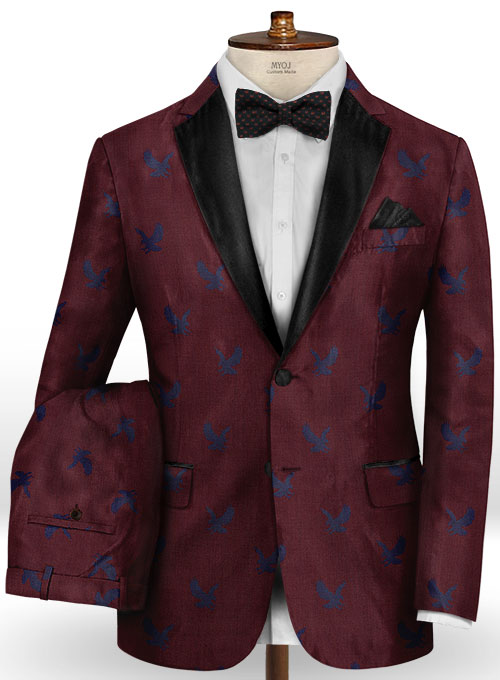 Eagle Wine Wool Tuxedo Suit