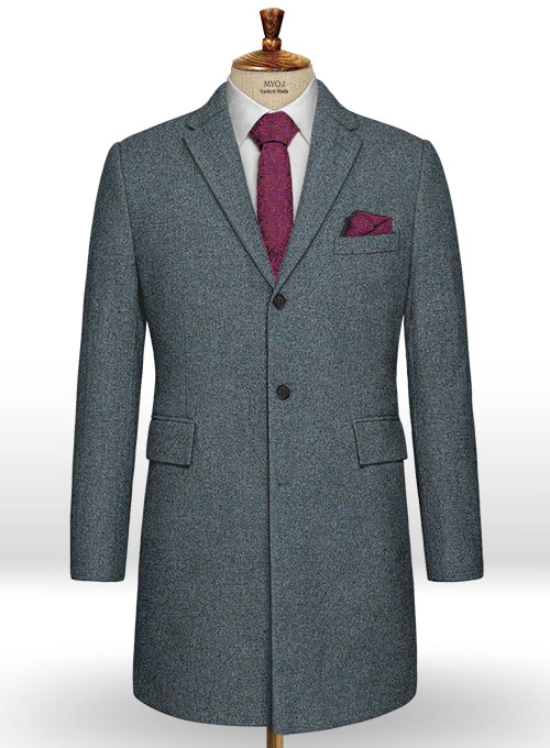 French Blue Tweed Overcoat