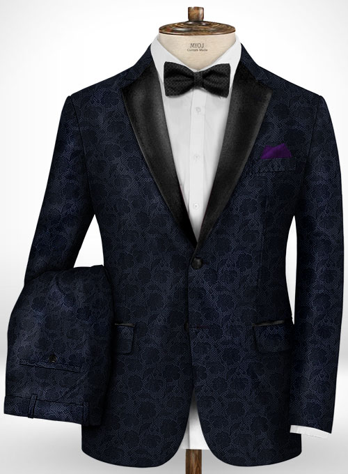 Graffiti Blue Flower Wool Tuxedo Suit
