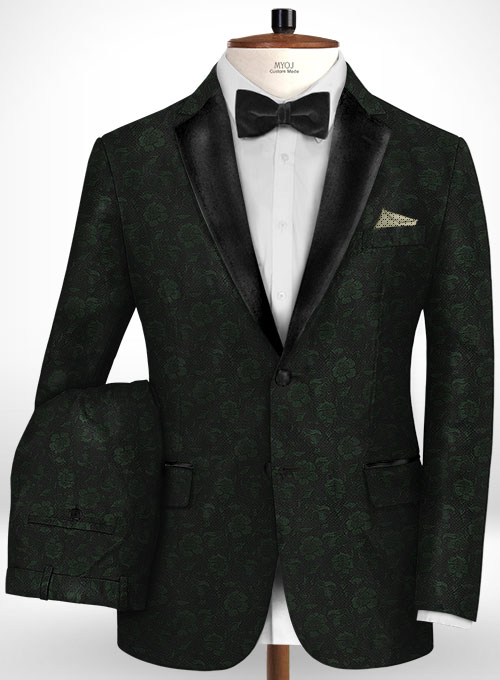 Graffiti Green Black Flower Wool Tuxedo Suit