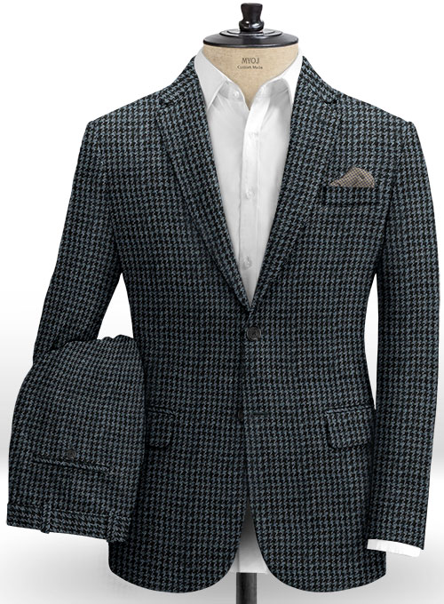 Harris Tweed Houndstooth Blue Suit