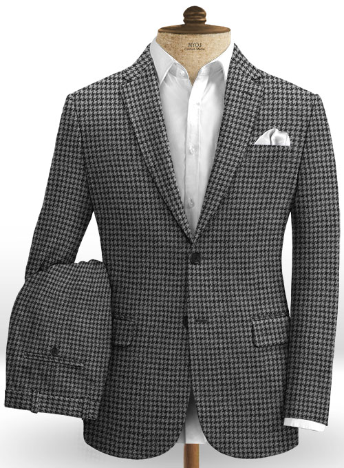 Harris Tweed Houndstooth Gray Suit