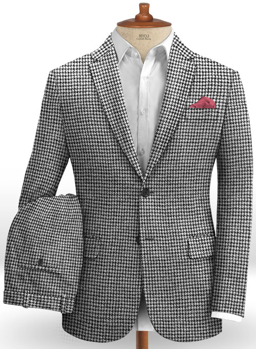 Harris Tweed Houndstooth Light Gray Suit